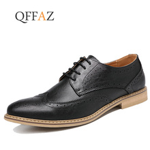 QFFAZ New 2019 Luxury Leather Brogue Mens Flats Shoes Casual British Style Men Oxfords Fashion Brand Dress Shoes For Men