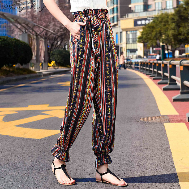 2018 New boho pants vintage floral print chic split pants ethnic wide leg pants high waist summer beach long pants CC568