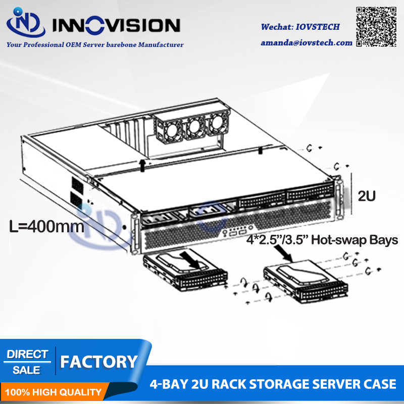 Image 2 - Flexible Ultra short 2U case L=400mm huge storage 4bays hotswap 2U rack server chassis for firewall/NVR-in Industrial Computer & Accessories from Computer & Office