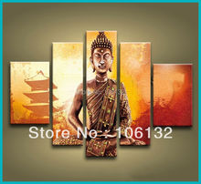 Framed 5 Panel Large Amazing quadros Chinese Art Buddha Painting Feng Shui Wall Decor Canvas Pictures–A0115