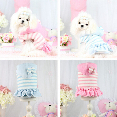 1pcs pet dog cat fashion autumn winter strip dress with hat doggy warm soft hoodies costume puppy sweaters dogs coats suit XS-XL