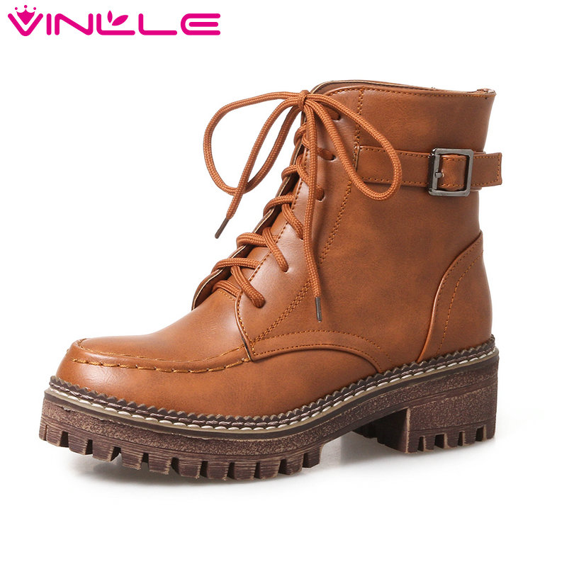 VINLLE 2018 Women Boots Shoes Lace Up Ankle Boots Square Low Heel Round Toe Buckle Yellow Ladies Motorcycle Shoes Size 34-43 vinlle 2017 sweet rome style women pumps party summer shoes pointed toe square low heel lace up wedding woman shoes size 34 43
