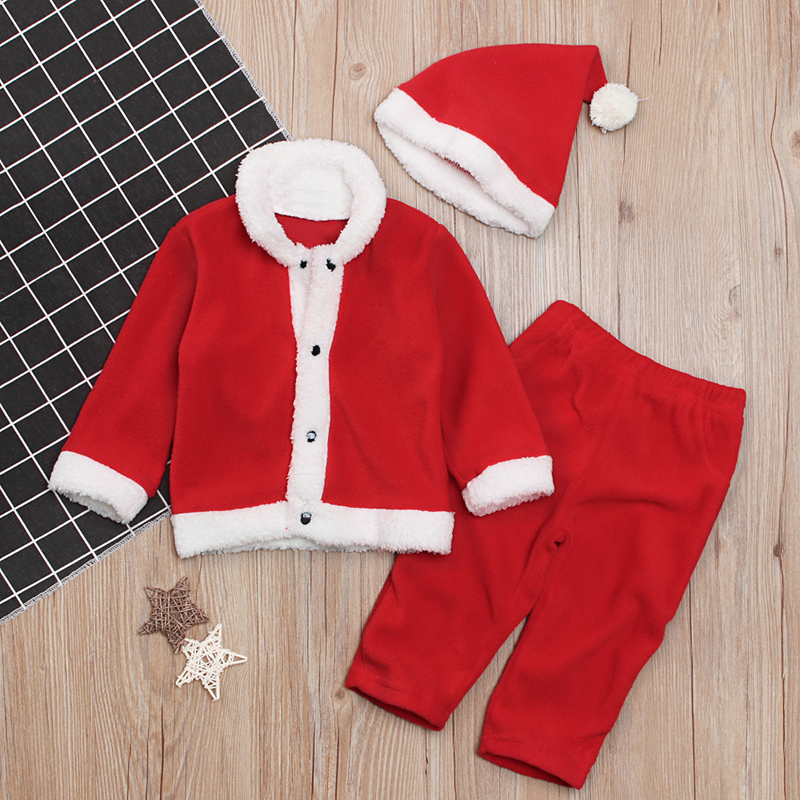 HTB1.JAYKbGYBuNjy0Foq6AiBFXai - Christmas Costume Clothes Santa Claus Costume For Baby Girl Boys Newborn Baby Coat Pants Hat Suit Infant Set For 2019 New Years
