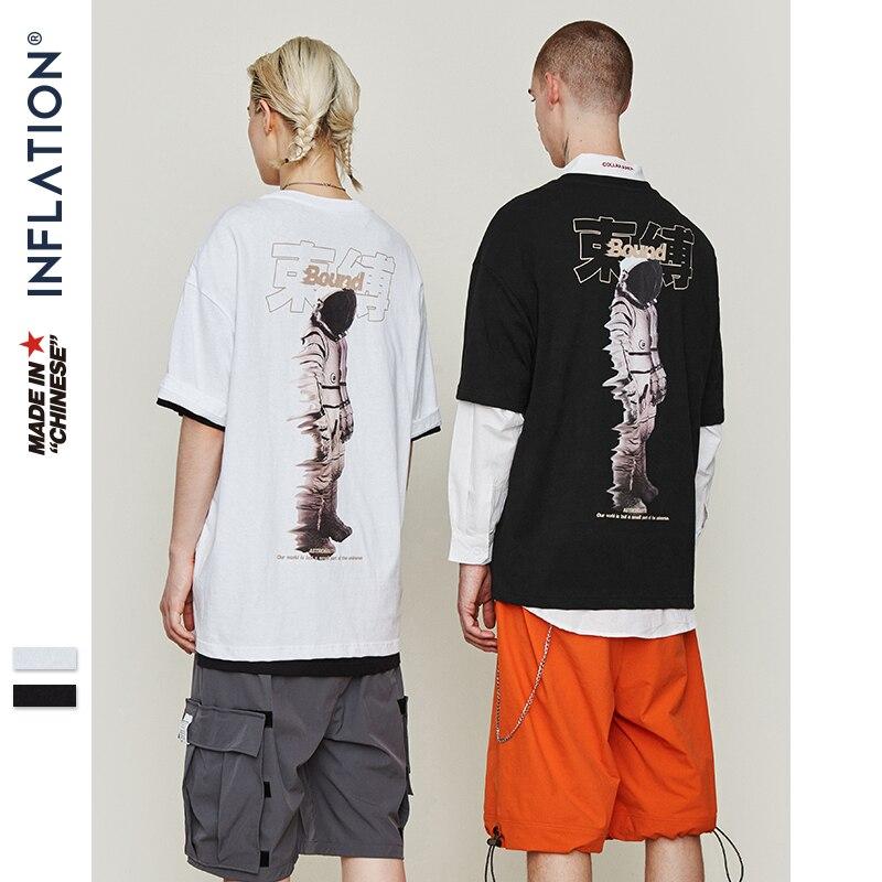 INFLAÇÃO O-pescoço Hip Hop T-shirt Dos Homens 2019 Verão Camiseta Casal Tshirt Harajuku Hiphop Streetwear Camiseta de Algodão Top Tee 9146 S