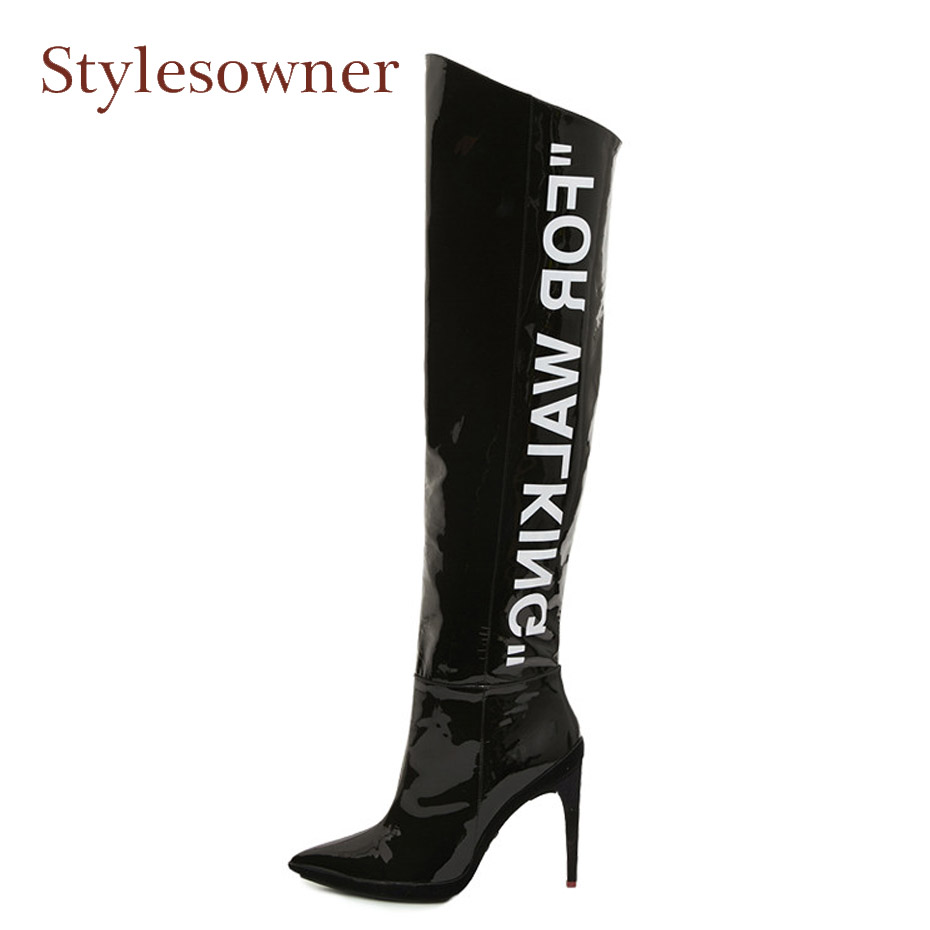 Stylesowner 2018 sexy pointed toe high heel over the knee boots for walking patent leather boots women fashion thigh high boots new fashion women shoes pointed toe patent leather lady high heel boots for women sexy over the knee boots nightclub pumps