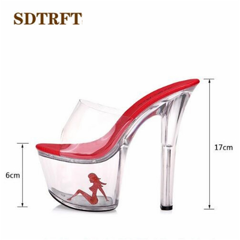 SDTRFT <font><b>sexy</b></font> platform wedding shoes woman SM <font><b>17cm</b></font> crystal ultra <font><b>high</b></font> thin <font><b>heels</b></font> sandals transparent red beauty bridesmaid pumps image