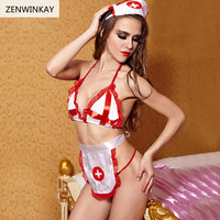 Female Sexy Cosplay Women Lingerie Sexy Nurse Costume Role Playing Sexy Clothes Slutty Outfit Adult Sex Wear 4 Pieces Set