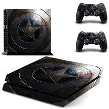 New Captain America PS4 decalque Adesivo de Pele Para Sony Playstation 4 Pcs Controladores de Console de proteção filme + 2 9 padrões