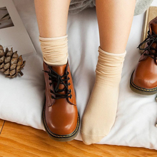 New Candy-colored Tube Curling Stock Winter Knitted Socks Hot Women Cotton Casual Girls Red Retro Sock Female Solid