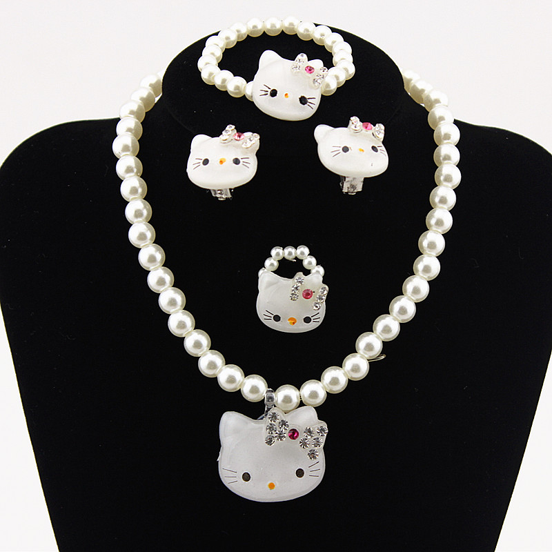 Kids Baby Girls Princess Crystal Pink kitty Cat Necklace Imitation Pearl Beads Jewelry Ring Set Children Party Xmas Gifts