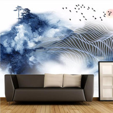 Ink landscape abstract lines background professional production murals manufacturers wholesale wallpaper mural poster photo wall все цены