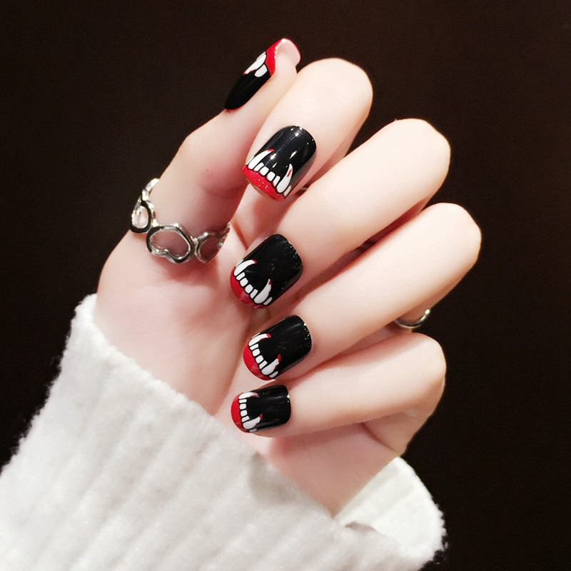 2017 New Fashion 24Pcs Black Short False Nails Acrylic ...