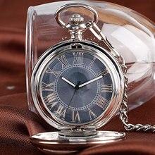 Presente de natal relógio de luxo masculino relogio digital steampunk bolso relógio do vintage auto vento elegante cinza dial automático mecânico