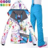 GSOU SNOW Brand лыжный костюм Для женщин Водонепроницаемая лыжная куртка + сноуборд штаны Зимние открытый костюм для сноубординга комплект зимняя