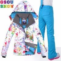 GSOU SNOW Brand Ski Suit Women Waterproof Skiing Jacket + Snowboard Pants Winter Outdoor Snowboarding Suit Set Snow Clothes