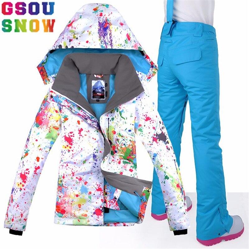 GSOU SNOW marca traje de esquí mujeres impermeable esquí chaqueta + pantalones de Snowboard de invierno al aire libre de Snowboard traje conjunto ropa de nieve