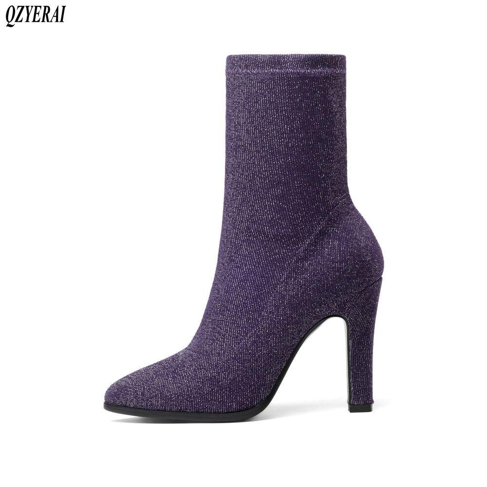 QZYERAI 2018 New Women Sock Boots Pointed Toe Elastic Boots Slip On High Heel Ankle Boots Women Pumps Stiletto Botas