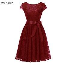 OML515J # Wine Laço vermelho de manga curta vestido de Baile vestidos de Dama de honra da festa de casamento do baile de finalistas vestido baratos por atacado mulheres moda roupas