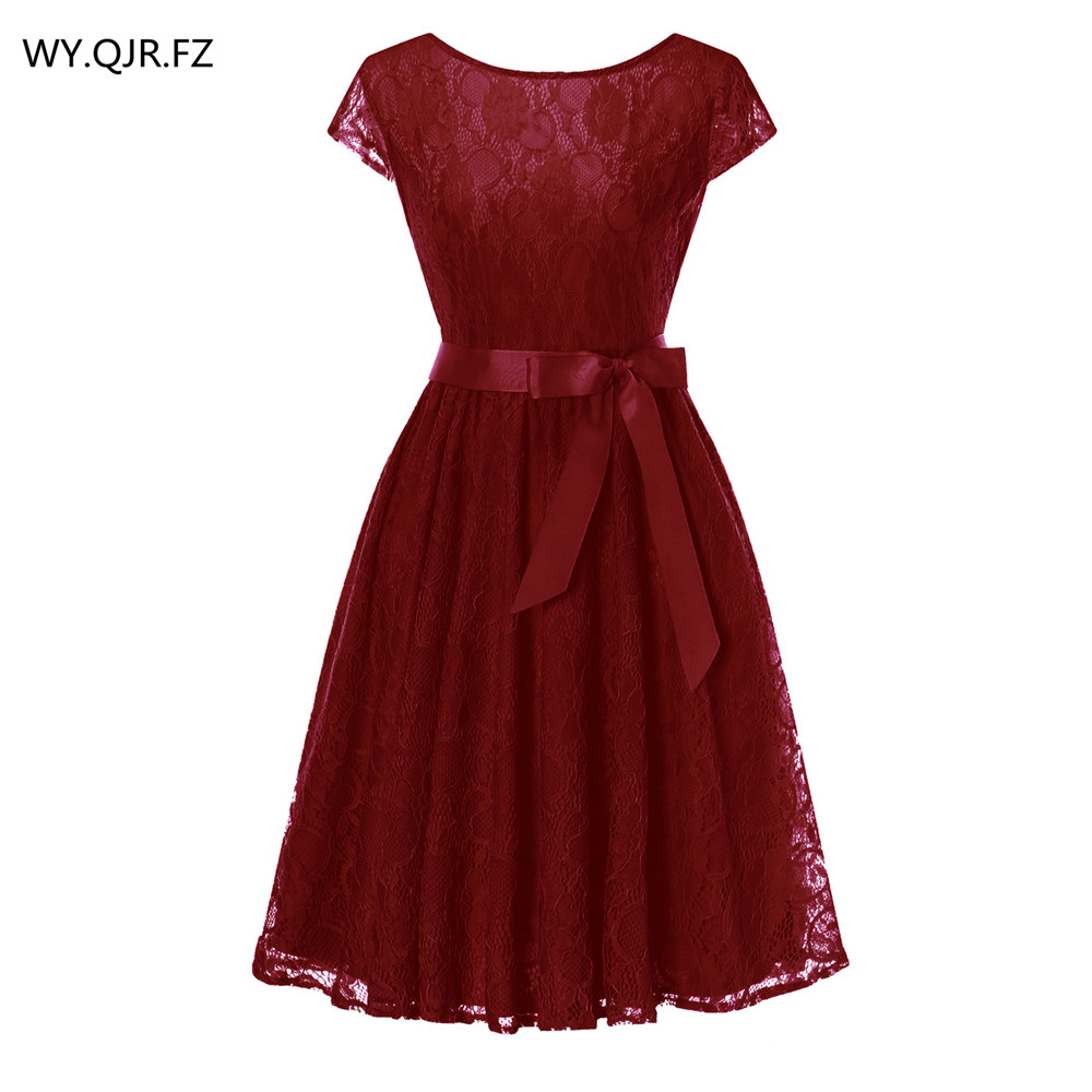 OML515J#Wine Red Lace Short Sleeved Ball Gown Bridesmaid Dresses Wedding Party Prom Dress Cheap Wholesale Women Fashion Clothing