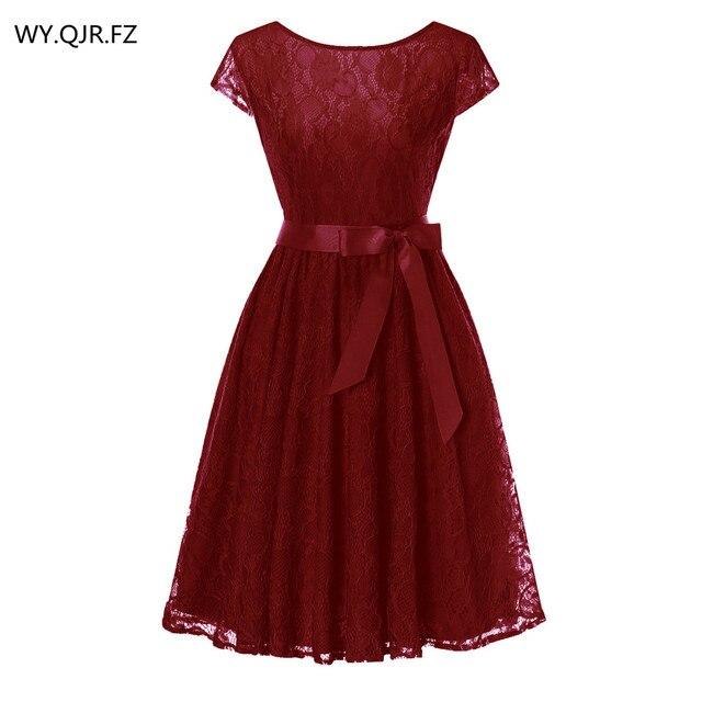 OML515J # النبيذ الأحمر الدانتيل قصيرة الأكمام الكرة ثوب وصيفة الشرف فساتين الزفاف حفلة موسيقية فستان رخيصة بالجملة النساء ملابس عصرية