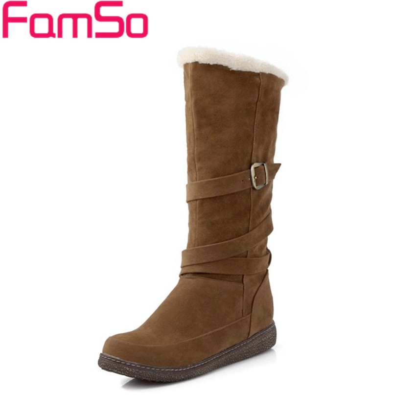 ФОТО Big Size34-41 2017 New Sexy Women Winter  Snow Boots Buckle half  Shoes 4 Colors platforms  Women's Motorcycle Boots ZWB548