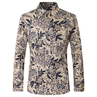 Shirt Men 2017 Latest Mens Fashion Shirts Slim Fit Mens Floral Print Shirt Casual Camisa