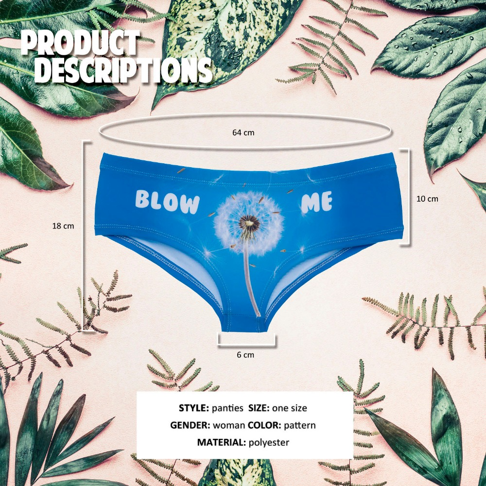 LEIMOLIS blow dandelion blue funny print sexy hot panties female kawaii Lovely underwear push up briefs women lingerie thongs in women 39 s panties from Underwear amp Sleepwears
