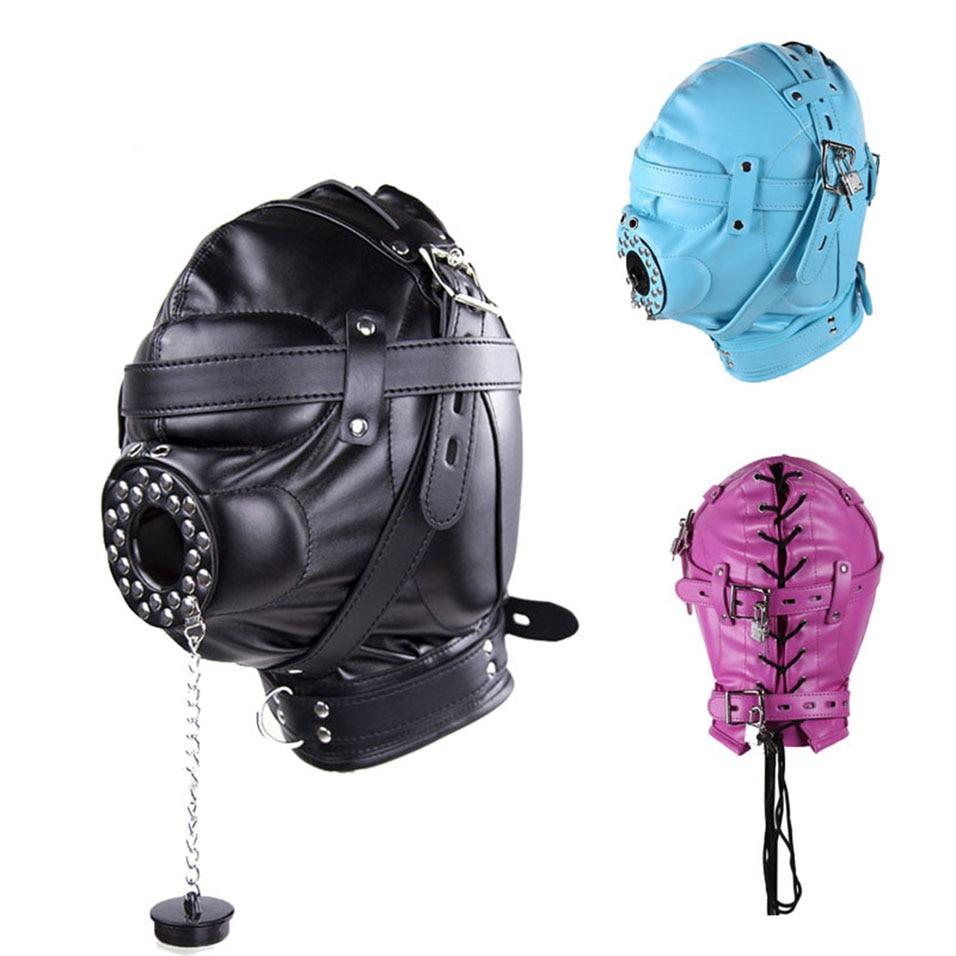 Buy camaTech Fetish PU Leather Bondage Hood Open Mouth Gag Mask Slave Gag Plug Enclosed Head Harness BDSM Restraints Erotic Sex Toys