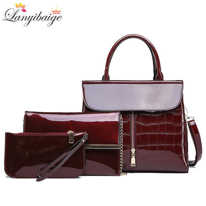 New 3 Sets High Quality Patent Leather Women Handbags Luxury Brands Tote Women Bag Ladies Shoulder Messenger Bag Clutch Feminina