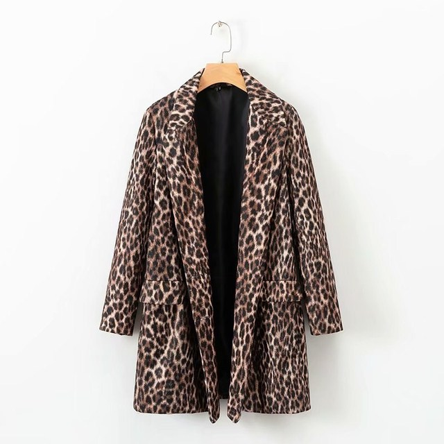 Autumn Winter Women Faux Fur Leopard OutCoat Pocket Long Sleeve Double Breasted Cool Wild Female  Warm Blazers