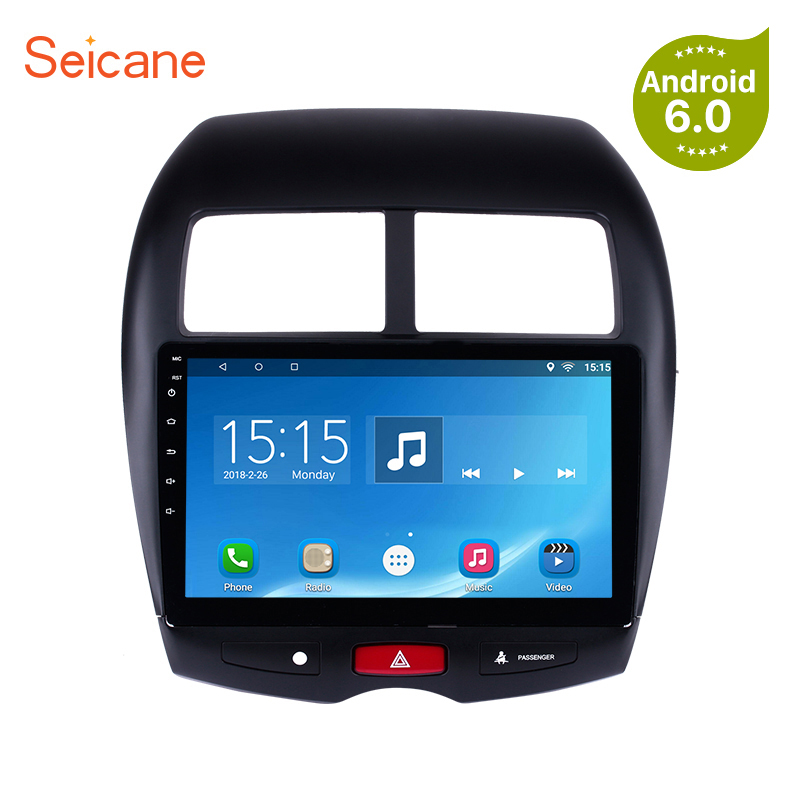 Seicane GPS Android 6.0/7.1 3G WIFI Bluetooth HD Touchscreen Car Stereo FM/AM Radio For 2010-2015 Mitsubishi ASX Peugeot 4008 купить в Москве 2019