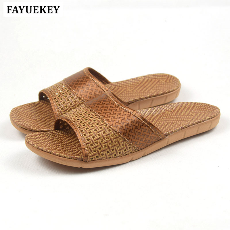 FAYUEKEY 2018 New Arrival Summer Fashion Home Linen Breathable Slippers Men Indoor Floor Beach Slides Boys Gift Flat Shoes coolsa new summer linen women slippers fabric eva flat non slip slides linen sandals home slipper lovers casual straw beach shoe