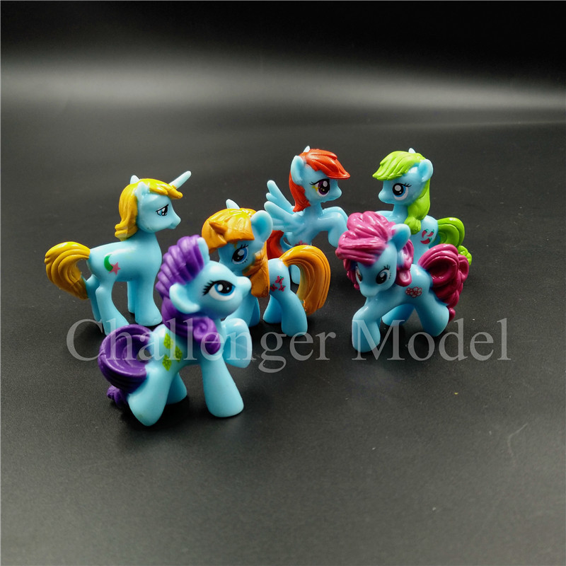 6 Pcs set 3 5cm Cute PVC Unicorn Pony Princess Action Figures Toy Doll Earth Ponies Pegasus Alicorn Bat Figure Dolls For Girl in Action Toy Figures from Toys Hobbies