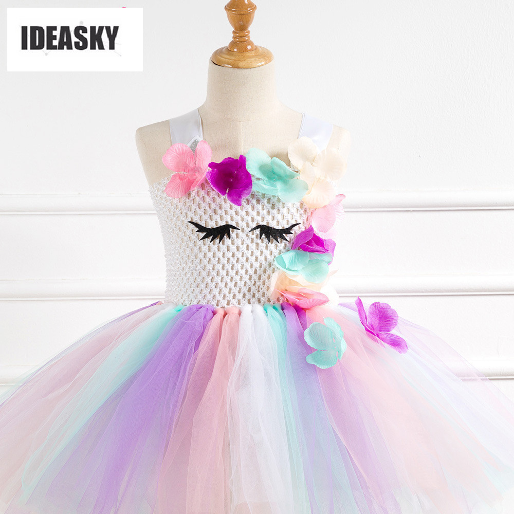 Kids Girls Princess Unicorn Rainbow Tutu Dress Party Birthday Cosplay Headdband
