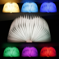 Lightme USB Rechargeable LED Folding Light Book Shape Night Lamp Wooden Magnet Cover Home Table Desk Colorful 1PC Modern Design