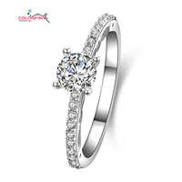 COLORFISH Women's Fashion Real 925 Sterling Silver 1/2 Carat Half Cubic Zirconia Eternity Solitaire Engagement Ring Wedding Band