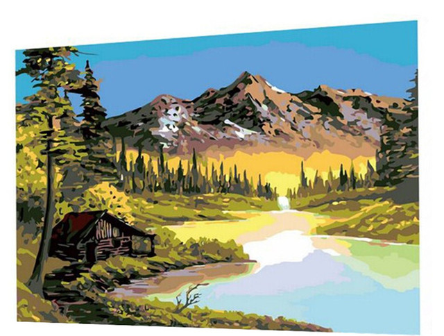 16X20 Inch DIY Painting Bob Ross Paintings Paint On Canvas Prints Home Decorative Art Picture Frameless