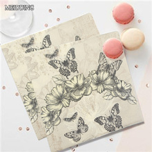 MEIDDING-20pcs/lot butterfly flower paper napkin wedding /baby shower/Birthday party table supplies Tissue Napkins Decoupage