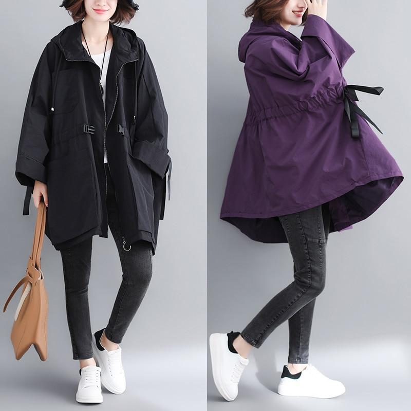 2019 New Plus Size Windbreaker Women Spring Autumn Korean Long Hooded   Trench   Coat Women Outerwear Loose Casual Ladies Coats Tide