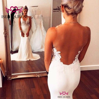Lustrous Satin Illusion Sexy Backless Appliques Embroidery Pure White Bride Dresses Latin Style V-neck Wedding Dress Train w0528