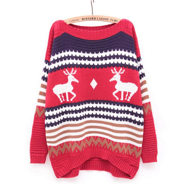 Hot Sale Autumn Winter Women's Knitted Sweater Plus Size Korean loose deer long-sleeved sweater Woman Winter Clothes Pullover