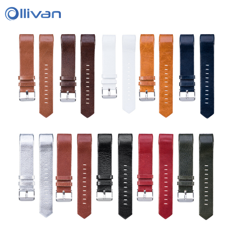Ollivan Soft Leather Strap For Fitbit Charge 2 Band Smart Bracelet Replace Watchband For Fitbit Charge 2 Wrist With Steel Buckle