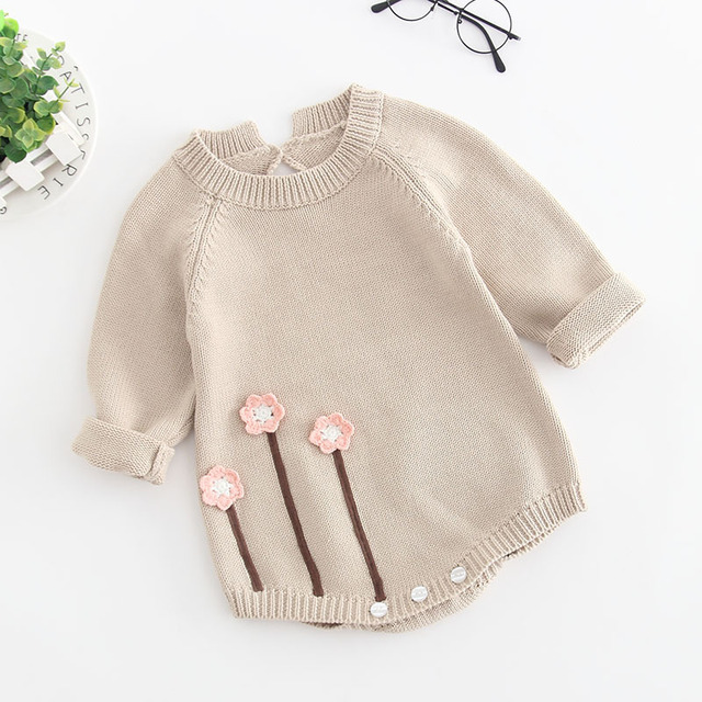 MYUDI – Baby Sweaters Girl Bodysuits Pullover Children Cotton Jumper Toddler One-pieces Flower Knitted long-sleeve clothes