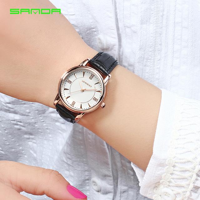 SANDA 2018 Ladies Luxury Brand Crystal Wrist Watch