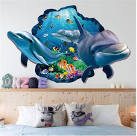 ZOOYOO Fish Dolphin 3d Vivid Window Wall Stickers DIY Wall Decals Bathroom Living Room Bedroom Bathroom