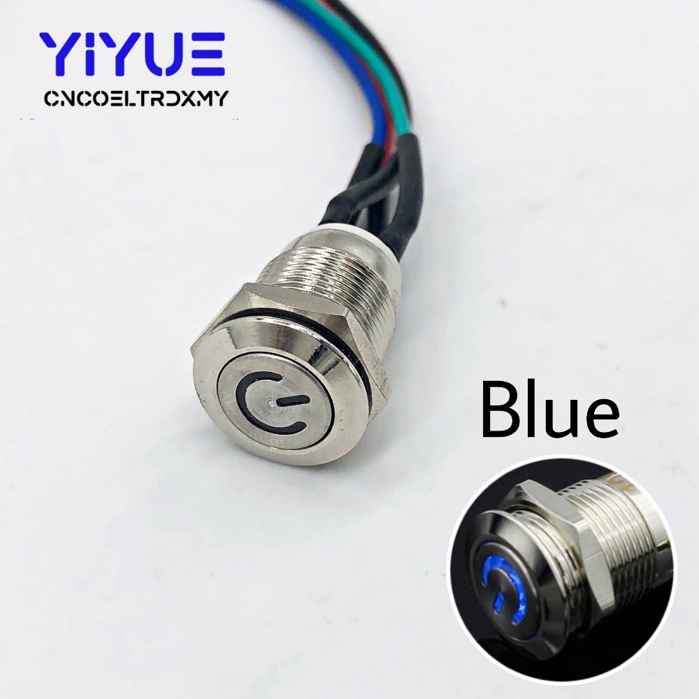 Metal Push Button Switch On-off With LED light 5V 12mm6