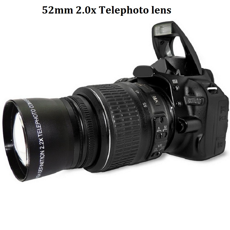 Teleobjetivo de 52 mm y 2,0x para Nikon D90 D80 D700 D3000 D3200 D3200 D500 D5100 D5200 18-55mm Cámaras DSLR