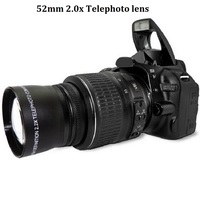High Quality 52mm 2 0X Telephoto Lens For Digital Camera Front Rear Cap PU Leather Bag