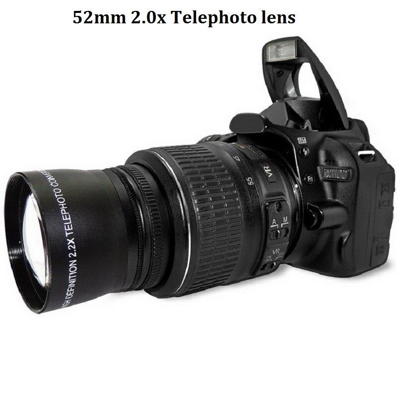 52mm 2.0x lente teleobjetivo para Nikon D90 D80 D700 D3000 D3100 D3200 D5000 D5100 D5200 18-55mm y cámaras DSLR