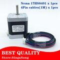 Certificação CE 4-lead Nema17 Motor de Passo 48mm comprimento/78Oz-in/Nema 17 do motor 1.8a 42 BYGH (17HS8401) Eixo do motor para CNC XYZ